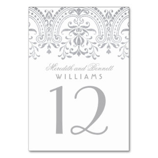 Wedding Table Number | Silver Vintage Glam Table Card
