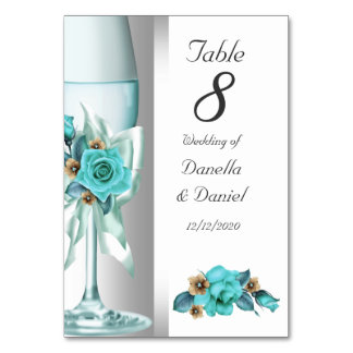 Wedding Table Number Teal White Beige Rose Table Cards
