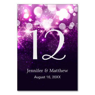 Wedding Table Number Trendy Purple Glitter Sparkle