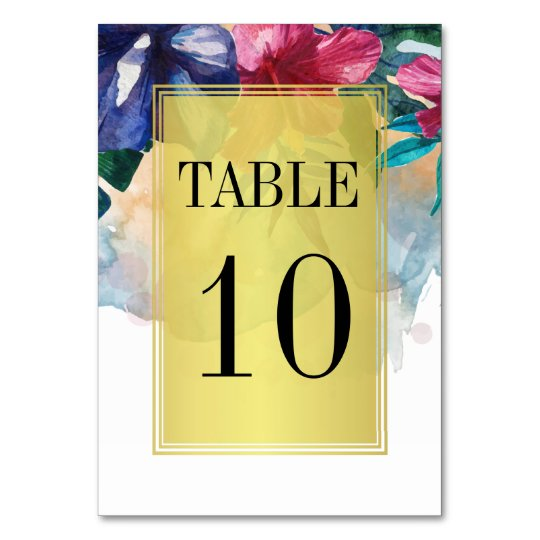 Wedding Table Number | Tropical Watercolor Flowers