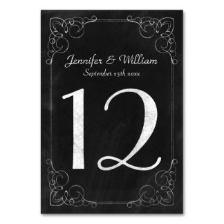 Wedding Table Number Vintage Chalkboard Scrollwork