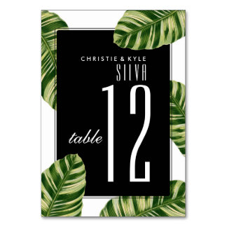 Wedding Table Number | Vintage Palm Tree Beach Table Card