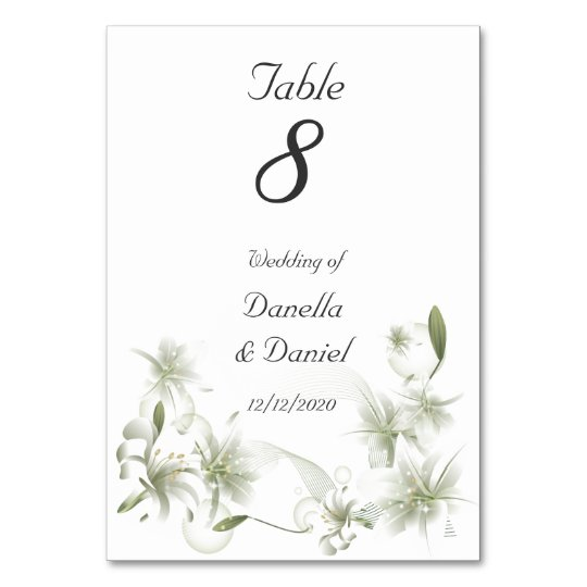 Wedding Table Number Wedding White Flowers Floral