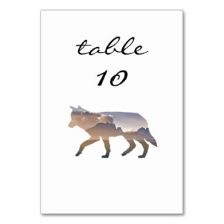 Wedding Table Number Western Rustic Mountain Wolf