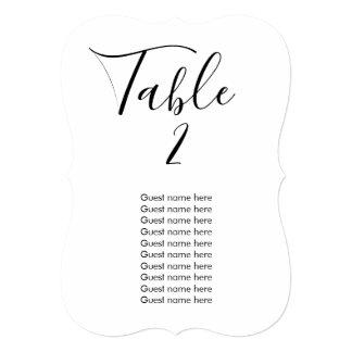 Wedding table number, you change change color card