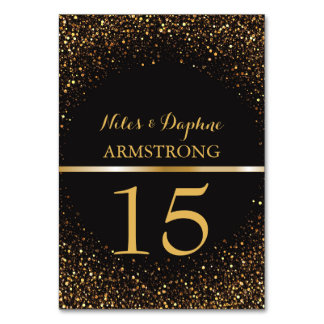 Wedding Table Numbers | Black Elegant Gold Glitter
