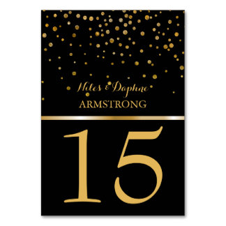 Wedding Table Numbers | Chic Black Gold Confetti