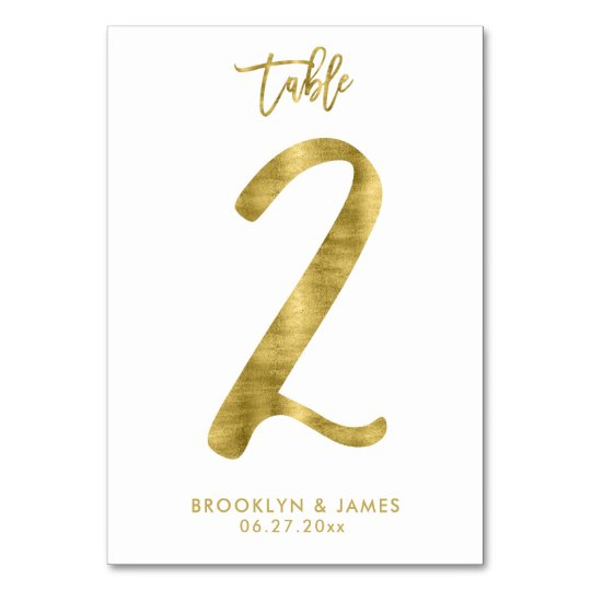 Wedding Table Numbers Gold Foil Effect Number 2 Table Cards