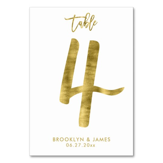 Wedding Table Numbers Gold Foil Effect Number 4 Table Cards