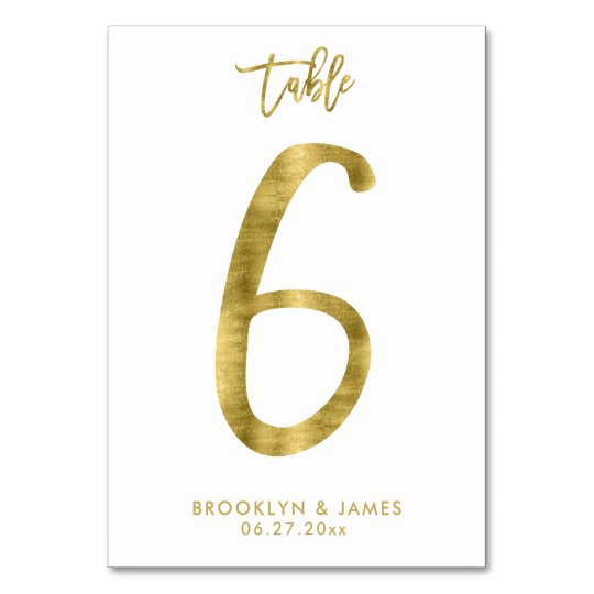 Wedding Table Numbers Gold Foil Effect Number 6