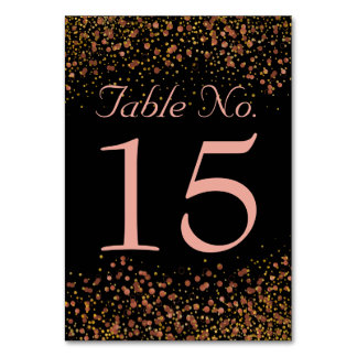 Wedding Table Numbers | Rose Gold Confetti Dots