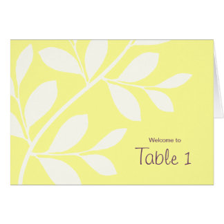 Wedding Table Seating Cards Leaf Branch Yellow Pur