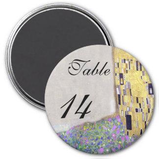 """Wedding Table """"The Kiss"""" Klimt Art Nouveau 3 Inch Round Magnet"""