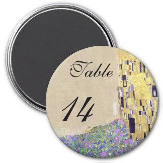 "Wedding Table ""The Kiss"" Klimt Creamy Sand 3 Inch Round Magnet"