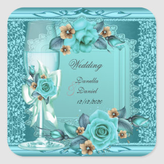 Wedding Teal Blue Beige Roses Flowers Square Stickers