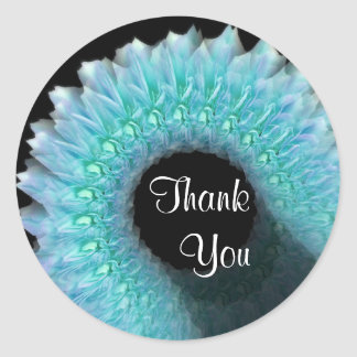 Wedding Thank You - BLUE Rose Wreath Round Stickers