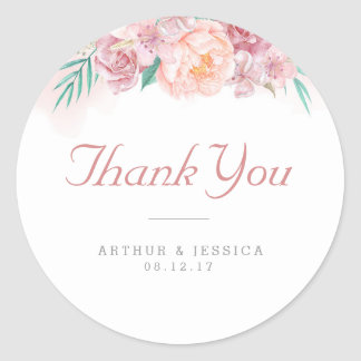 Wedding Thank You | Blush and Blooms Classic Round Sticker