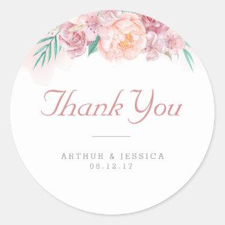 Wedding Thank You | Blush and Blooms Round Sticker