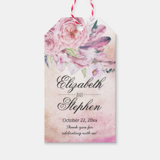 Wedding Thank You Boho Watercolor Floral Feathers Gift Tags