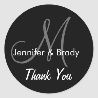 Wedding Thank You Bride Groom Monogram Sticker