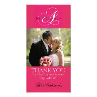 Wedding Thank You Bride Groom Photo Cards Fuchsia