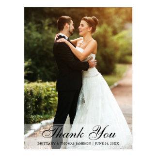 Wedding Thank You Bride & Groom Postcard BW