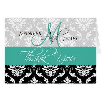 Wedding Thank You Card Damask Monogram Turquoise