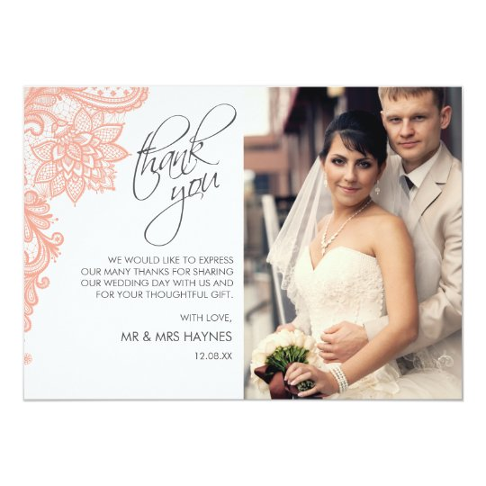 Wedding Thank You Card , Lace Flat Card