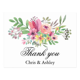 Wedding Thank You Card Married Couple Thank You Postcard
