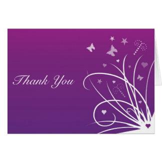 Wedding Thank You Card - Purple Butterfly Swirl