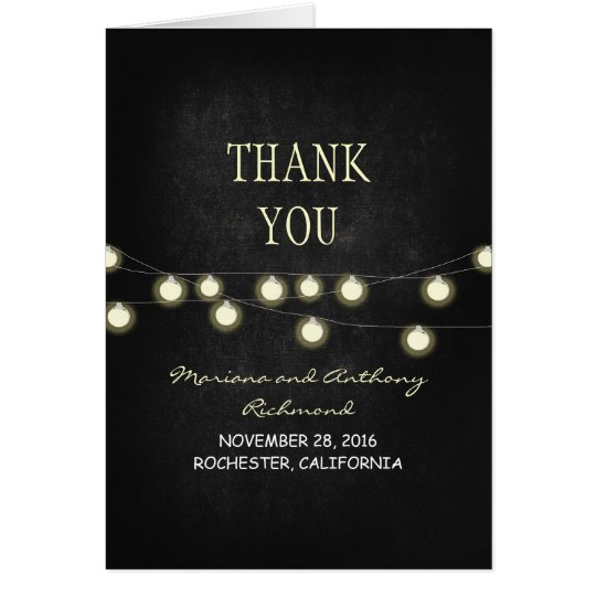 wedding thank you card with chalkboard & lights