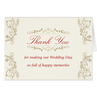 Wedding Thank You Card with ornate graphics