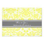 Wedding Thank You Cards Lemon Grey Damask