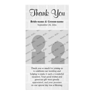 Wedding Thank You Design Pale Gray with Squares. Personalized Photo Card