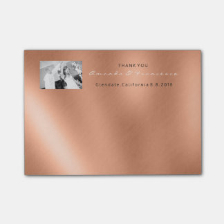 Wedding Thank You Favor Photo Copper Rose Gold Post-it Notes