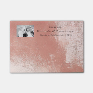 Wedding Thank You Favor Photo Pink Rose Gold Post-it Notes