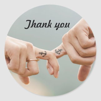 Wedding Thank You Favor Sticker Romantic Forever