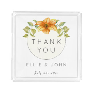 Wedding Thank You Favor Watercolor Star Flower Acrylic Tray