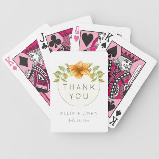 Wedding Thank You Favor Watercolor Star Flower Bicycle Playing Cards