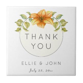 Wedding Thank You Favor Watercolor Star Flower Ceramic Tile