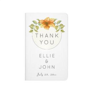 Wedding Thank You Favor Watercolor Star Flower Journal