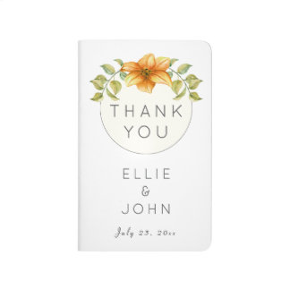 Wedding Thank You Favor Watercolor Star Flower Journals
