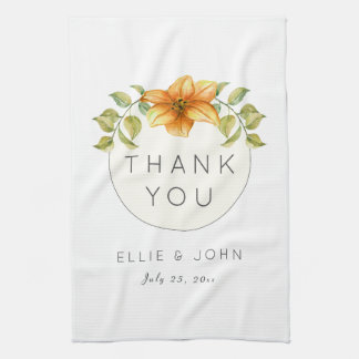 Wedding Thank You Favor Watercolor Star Flower Kitchen Towel
