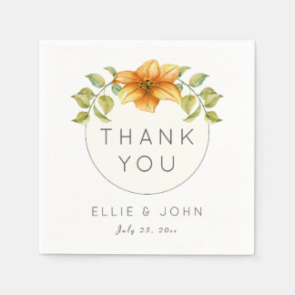 Wedding Thank You Favor Watercolor Star Flower Paper Napkins