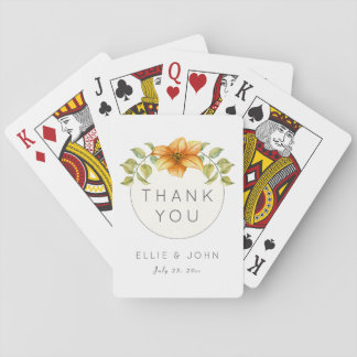 Wedding Thank You Favor Watercolor Star Flower Playing Cards