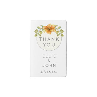 Wedding Thank You Favor Watercolor Star Flower Pocket Moleskine Notebook