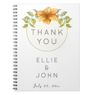 Wedding Thank You Favor Watercolor Star Flower Spiral Notebook