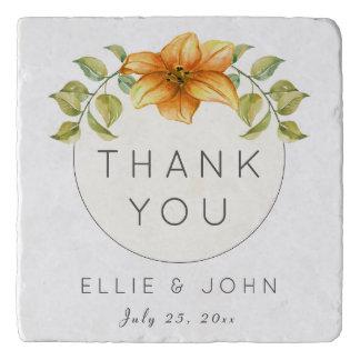 Wedding Thank You Favor Watercolor Star Flower Trivet