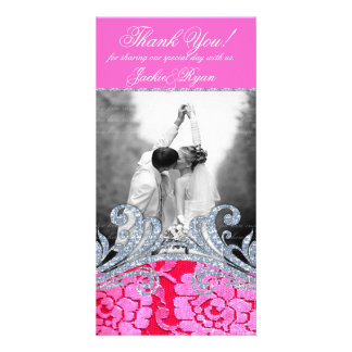 Wedding Thank You Floral Lace Flower Glitter Photo Card Template