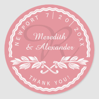Wedding Thank You from Bride and Groom Round Sticker